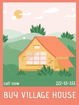 Plakat przedstawiający koncepcję kup dom na wsi. wiejski nowoczesny domek wśród krzewów i wzgórz krajobrazu. przytulny dom w przyrodzie, nieruchomości, koncepcja nieruchomości.