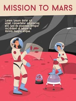Plakat przedstawiający koncepcję misji na marsa