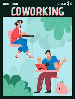 Plakat przedstawiający koncepcję one hour coworking