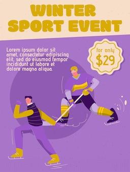 Plakat przedstawiający koncepcję wydarzenia sportów zimowych