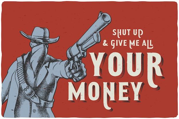 Plakat przedstawiający mężczyznę z dzikiego zachodu trzymającego broń