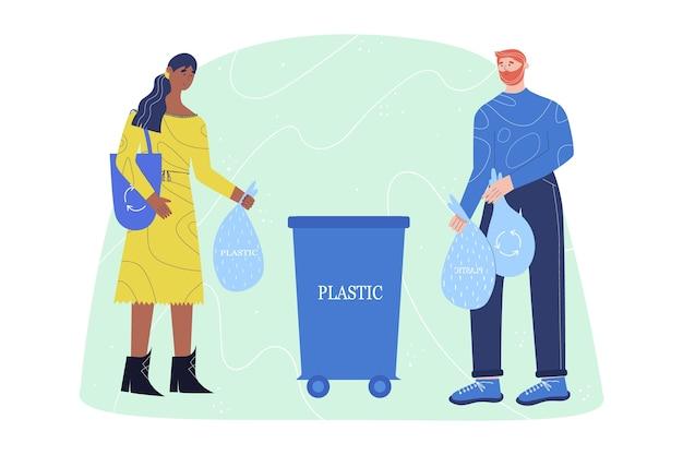 Plakat przedstawiający młodych ludzi wyrzucających plastik do plastikowego kosza na śmieci. ilustracji wektorowych.