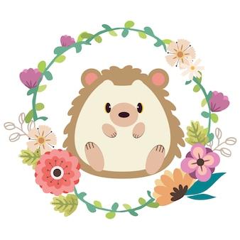 Plakat przedstawiający postać uroczego jeża siedzącego na środku pierścienia kwiatowego.