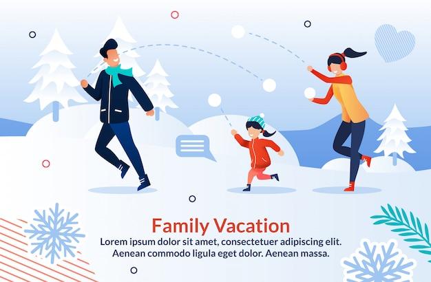 Plakat przedstawiający rodzinę grającą w śnieżkę i zabawę