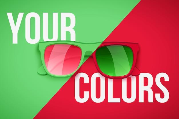 Plakat przedstawiający twoją osobowość. modne okulary przeciwsłoneczne na zielonym i czerwonym tle. ilustracja.