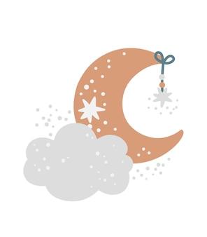Plakat przedszkola z uroczą chmurą księżyca i gwiazdami na białym tle wydruk galaktyki dla dzieci
