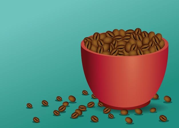 Plakat przerwa na kawę z filiżanką i nasionami w zielonym tle ilustracji wektorowych projektowania