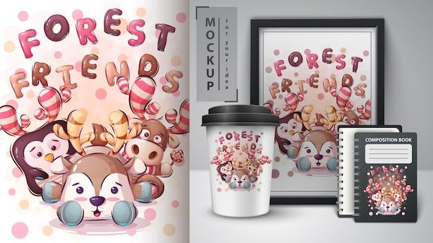 Plakat przyjaciół leśnych i merchandising