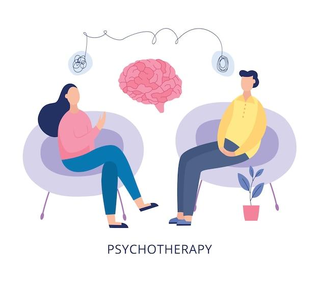 Plakat psychoterapii - ludzie z kreskówek podczas sesji terapii zdrowia psychicznego siedzący na krzesłach i rozmawiający o problemach i częściach mózgu ilustracja gabinetu terapeuty.