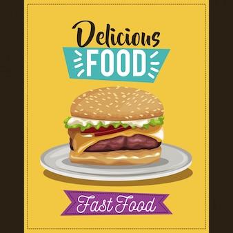 Plakat pyszne jedzenie. danie z menu fast food burger