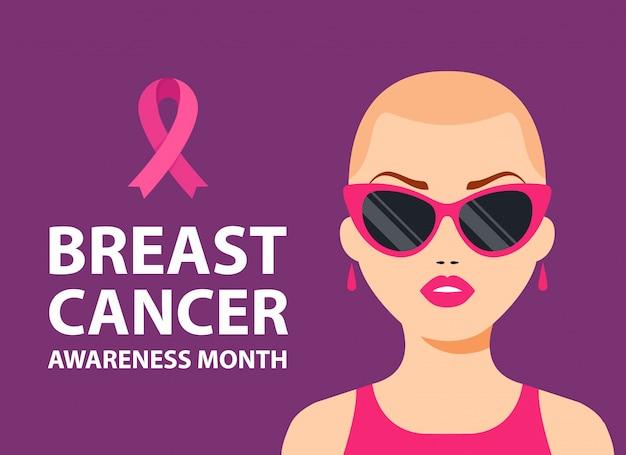 Plakat raka piersi. łysa dziewczyna z różową wstążką na piersi