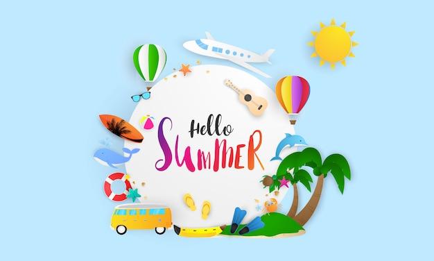 Plakat rama lato. ilustracja i projekt banera karty plakatowej,