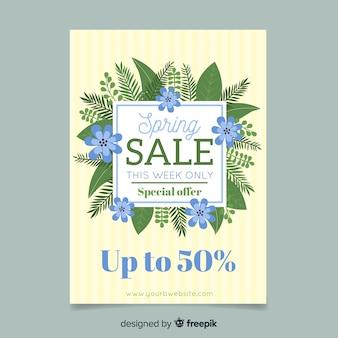 Plakat rama wiosna sprzedaży liści