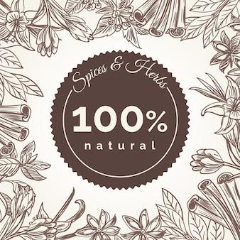 Plakat rama zioła i przyprawy
