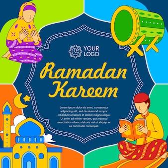 Plakat ramadan kareem w stylu płaskiej konstrukcji