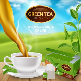 Plakat realistyczne liści herbaty