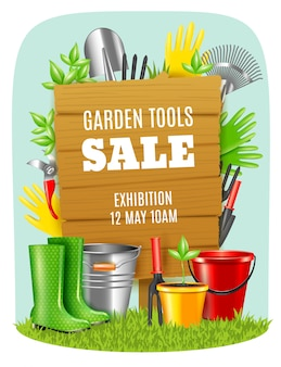 Plakat realistyczne narzędzia ogrodowe