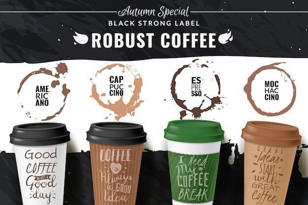 Plakat realistyczny kubek kawy