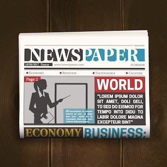 Plakat realistyczny na pierwszej stronie gazety