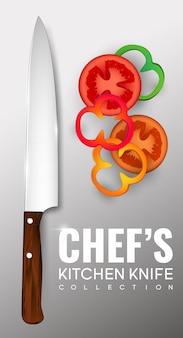 Plakat realistyczny nóż szefa kuchni