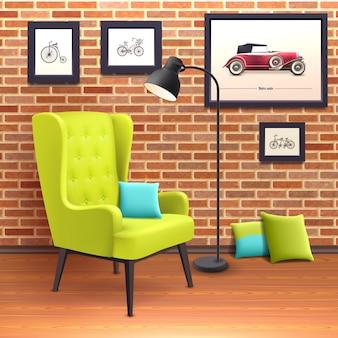 Plakat realistyczny wnętrze krzesła
