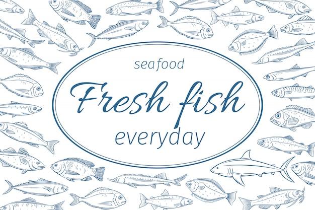 Plakat ręcznie rysowane ryby