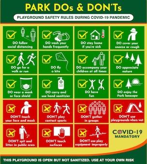 Plakat regulaminu parku publicznego lub praktyki zdrowia publicznego dotyczące covid19 lub protokoły bhp