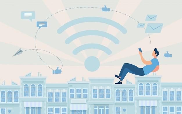 Plakat reklamowy dostęp do global network flat