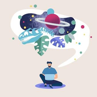 Plakat reklamowy eksploracja przestrzeni kosmicznej online mieszkanie.