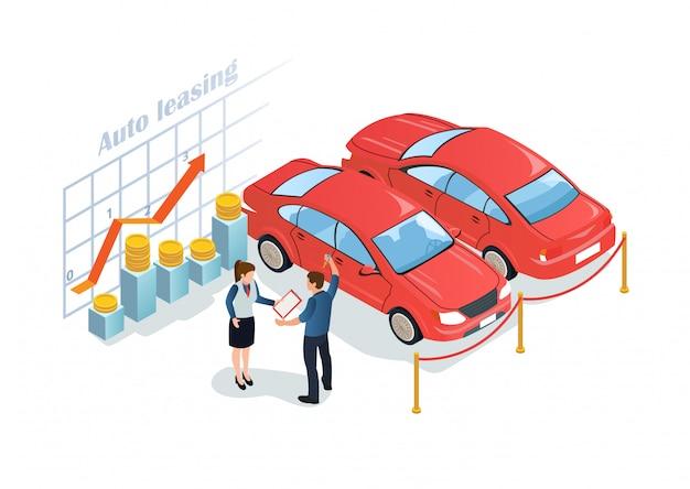 Plakat reklamowy jest napisany auto leasing flat.