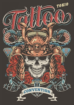 Plakat reklamowy kolorowy tatuaż festiwalu