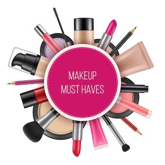 Plakat reklamowy kosmetyków. zdjęcia wektorowe kosmetyków na realistyczne tabliczki