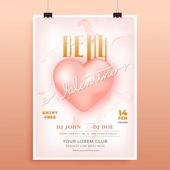 Plakat reklamowy lub projekt ulotki z tekstem be my valentine i błyszczącym sercem