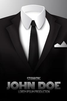 Plakat reklamowy męskiego garnituru z czarnym krawatem i białą koszulą