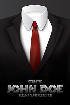 Plakat reklamowy męskiego garnituru z czerwonym krawatem i białą koszulą