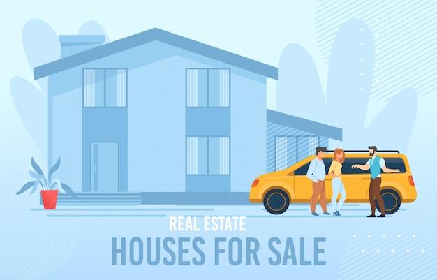 Plakat reklamowy nieruchomości domy na sprzedaż