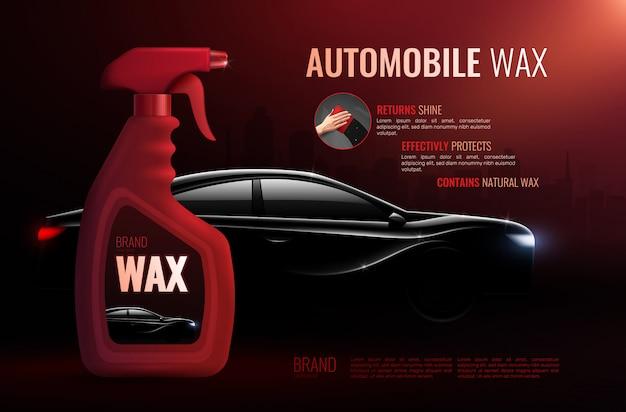 Plakat reklamowy produktu do pielęgnacji samochodu z butelką wysokiej jakości wosku samochodowego i realistycznym sedanem klasy luksusowej