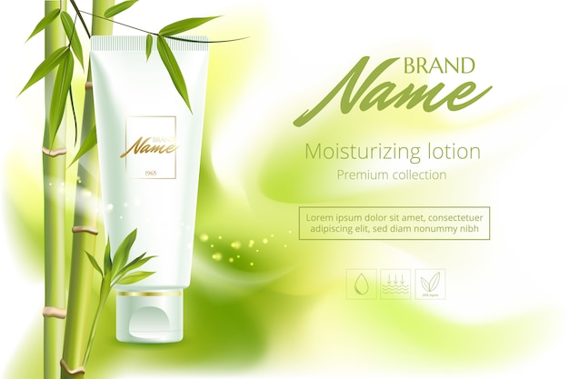 Plakat reklamowy produktu kosmetycznego do katalogu, czasopisma. opakowanie kosmetyczne. krem nawilżający, żel, balsam do ciała z ekstraktem z zielonej herbaty