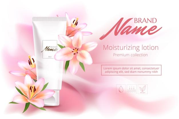 Plakat reklamowy produktu kosmetycznego z kwiatami do katalogu, czasopisma. pakiet kosmetyczny. plakat reklamowy perfum.