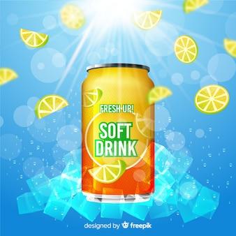 Plakat reklamowy realistyczny napój bezalkoholowy