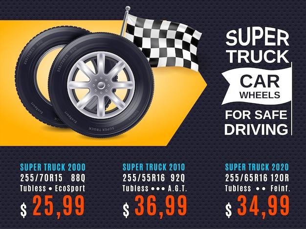 Plakat reklamowy realistycznych kół samochodowych