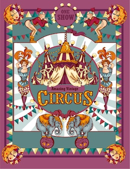 Plakat reklamowy rocznika cyrku