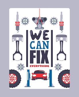 Plakat reklamowy serwisu samochodowego profesjonalne centrum serwisowe naprawy i diagnostyki pojazdów