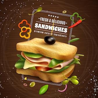 Plakat reklamowy świeże kanapki drewniane tła