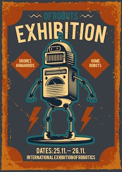 Plakat reklamowy z ilustracją robota.