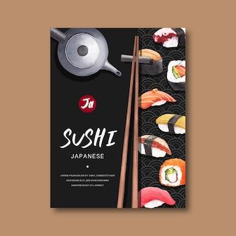 Plakat reklamujący restaurację sushi.