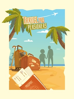 Plakat reklamujący wypoczynek w podróży dla osób starszych. ilustracja z morzem, palmą, plażą, biletami, paszportem, walizką, aparatem, ludźmi na tle retro