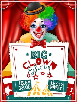 Plakat reklamy cyrkowego clown show