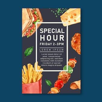 Plakat restauracji fast food na wystrój restauracji wygląda apetycznie