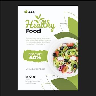Plakat restauracji zdrowej żywności ze zdjęciem